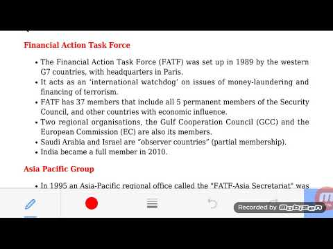 FINANCIAL ACTION TASK FORCE AND ASIA PACIFIC GROUP ORGANIZATIONS