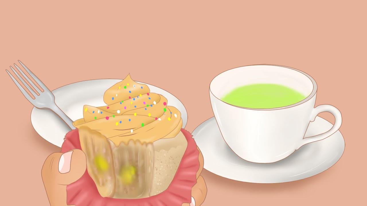 [ ASMR ] Cupcake and Green Tea Mukbang Animation | Eating Cupcake and Drinking Green Tea | ONDONG
