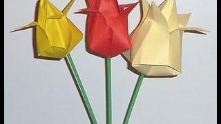 Как сделать тюльпан из бумаги своими руками(Подписывайтесь на канал, ставьте лайк всем пока!, 2015-02-15T12:00:16.000Z)
