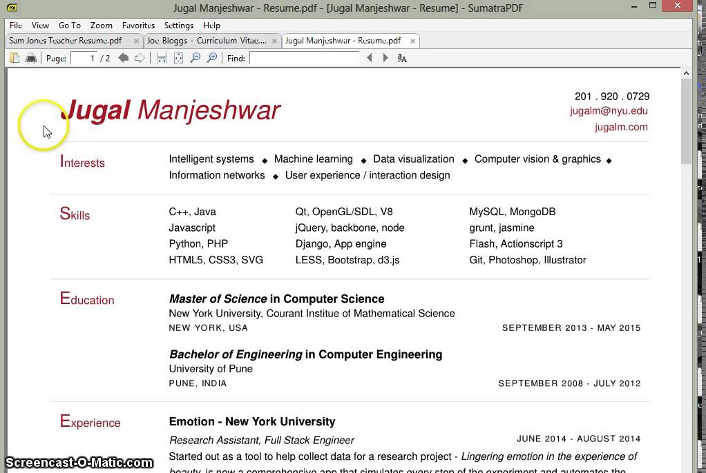 related post of computer vision resume