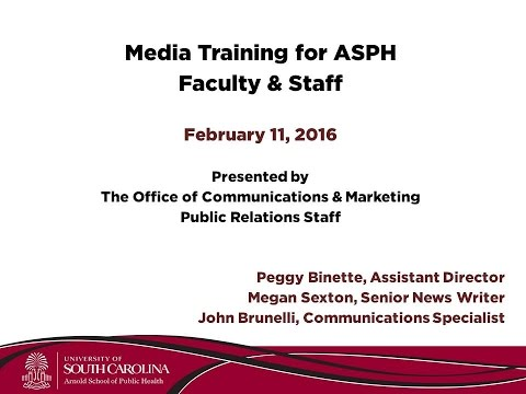 ASPH Media Training Workshop