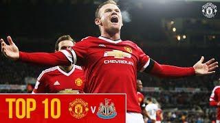 Top 10 PL Goals v Newcastle | Rooney, Cantona, Mata & Scholes! | Manchester United