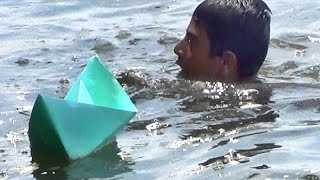 Paper boat -making and floating in River (Basic, Wings and Knife paper boats)