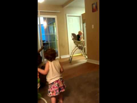 2 year old driving highchair! Funniest thing ever