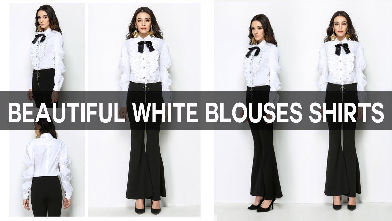 Beautiful White Blouses Shirts For Women Girls Ladies Tops