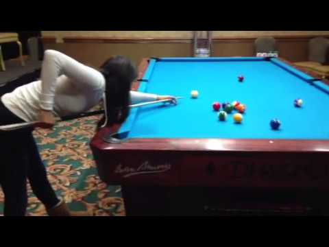 Sexy female pool player pool lesson on 10 foot pool table for 10 foot pool table
