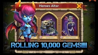 Castle Clash: Rolling 10k Gems and 3 Legendary Hero Cards