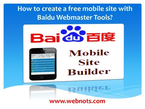 Create a Free Mobile Site App in Baidu Webmaster Tools