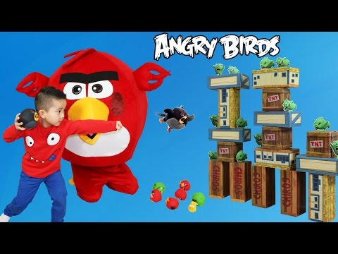 Giant Angry Birds Surprise Unboxing Vinyl Knockout Playset Fun With Red Chuck Bomb Piggy Ckn Toys