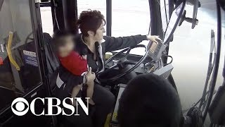 Bus driver being hailed as a hero for rescuing toddler wandering in the cold