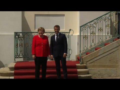 Emmanuel Macron welcomed by Angela Merkel in Meseberg