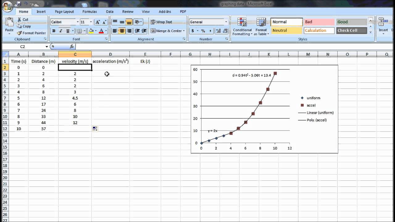 How to Calculate Velocity, Acceleration and Kinetic Energy in Excel for  Graphing