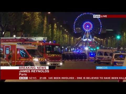 Paris Shooting Champs Elysees One Policeman and one attacker dead uninterrupted BBC coverage