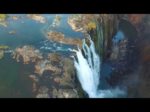 Aerial flight over the amazing Victoria Falls Africa HD - DJI Phantom