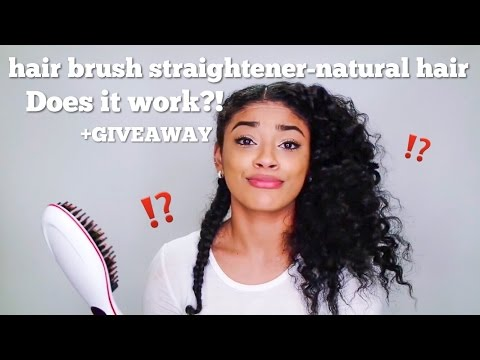 DOES IT WORK? Hair Brush Straightener on Natural Hair +GIVEAWAY (closed) | jasmeannnn