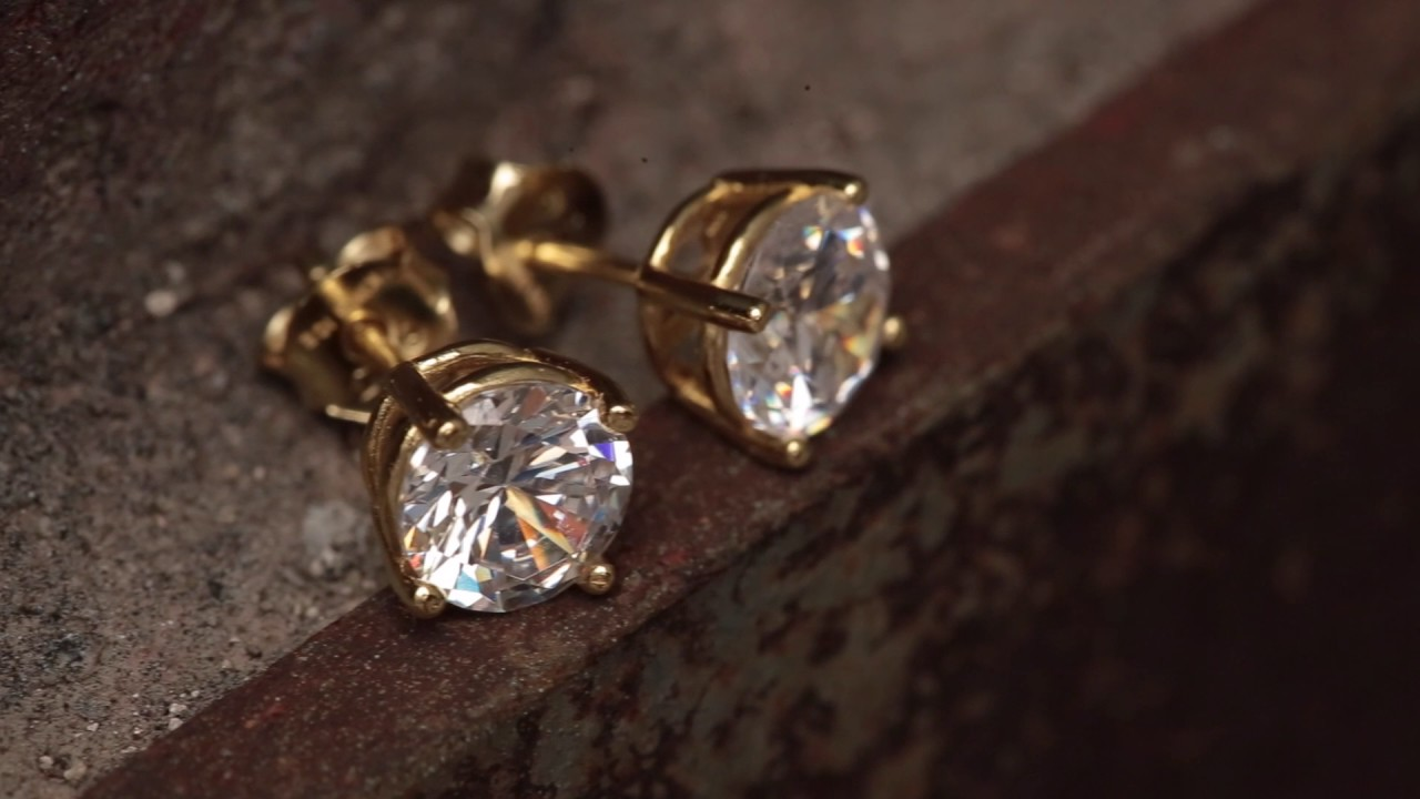 Gold Clear Round Brilliant Sterling Silver Cz Stud Earrings Hip Hop Jewelry Urban Style Studs