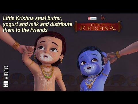 Little Krishna Steal Butter, Yogurt & Milk And Distribute In Friends