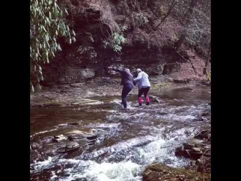 Falling in river