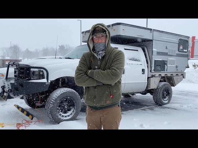 WINTER CAMPING AT -12F IN A POP-UP TRUCK CAMPER DURING A WINTER STORM
