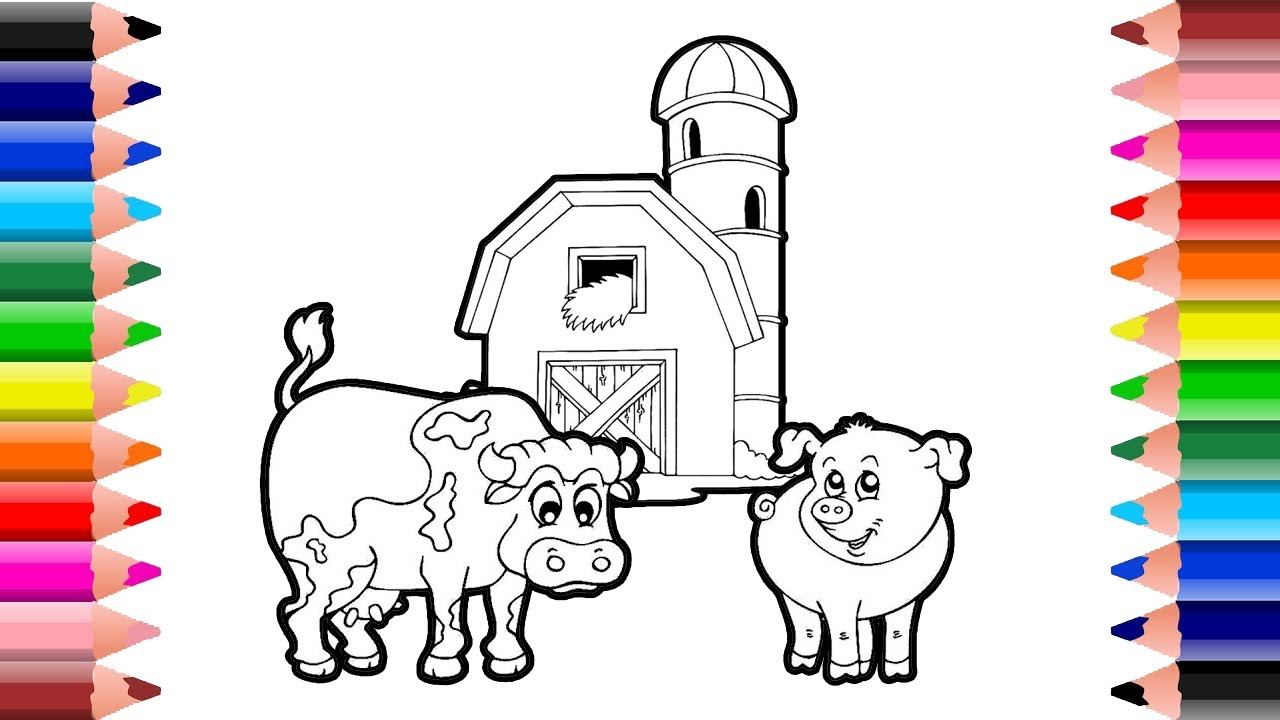 farm animals coloring pages for kids setoys youtube