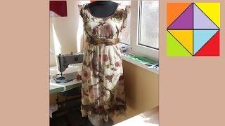Платье из цветного шифона с отделкой из органзы