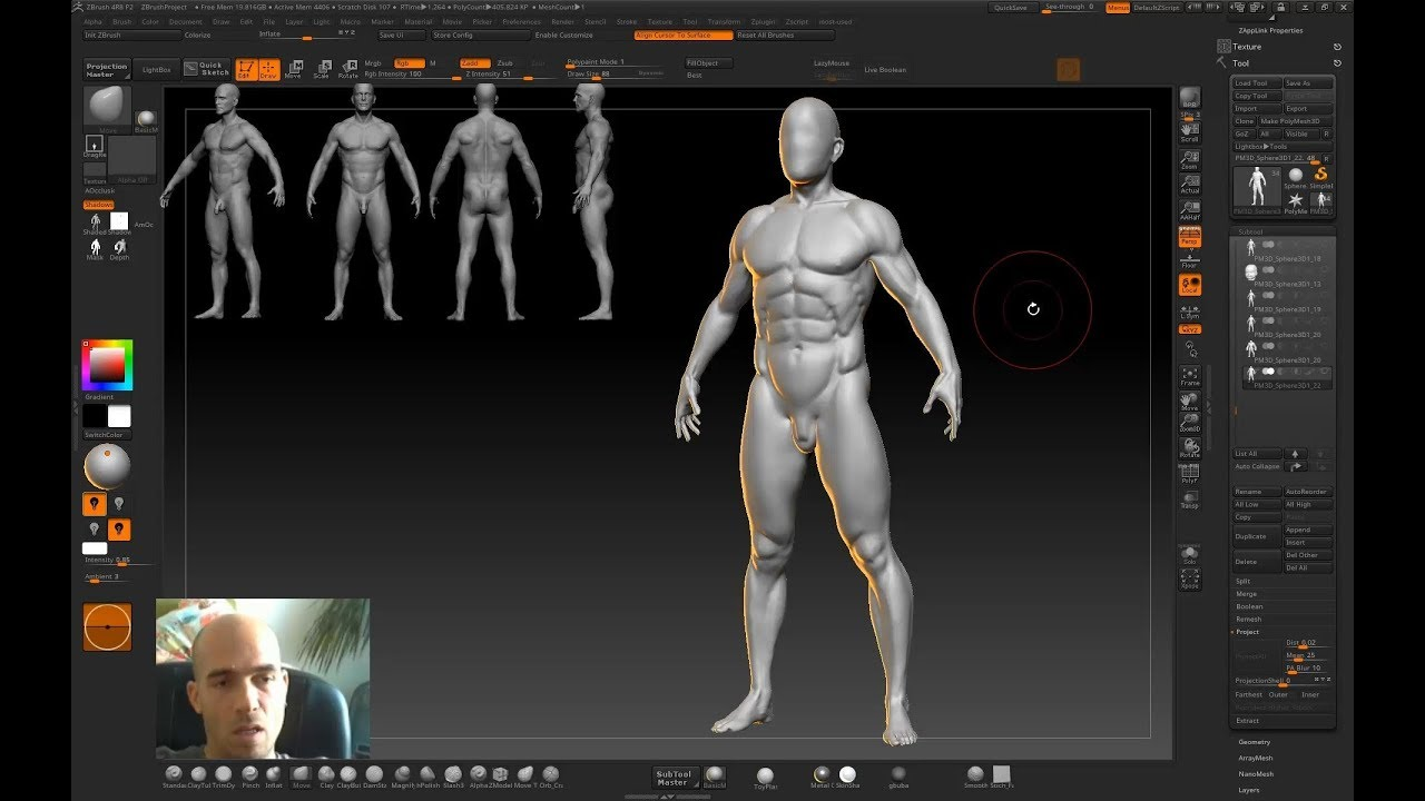 Download Human anatomy sculpting in Zbrush - from scratch to ready model of 3d man