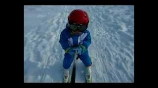 Обучение катанию на горных лыжах(ребенок 2 г.)