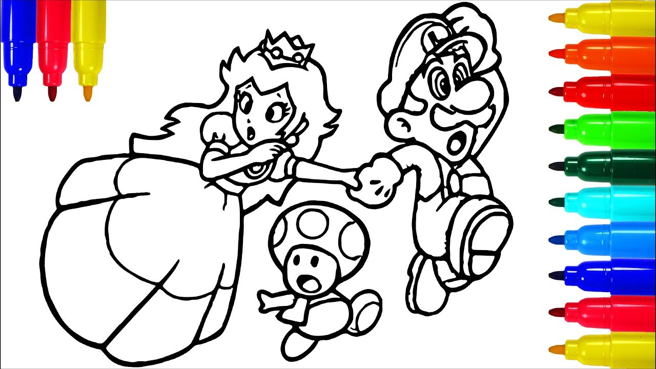 Super Mario Princess Mushroom Coloring Book Colouring Pages For Kids With Colored Markers