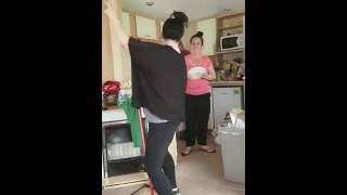 Repeat youtube video Funny Drunk Girlfriend dancing with a broom to spanish music teasing topless strip make it viral