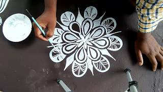 simple alpona designs with brush effect/ simple rangoli with brush effect/ easy kolam /easy  design