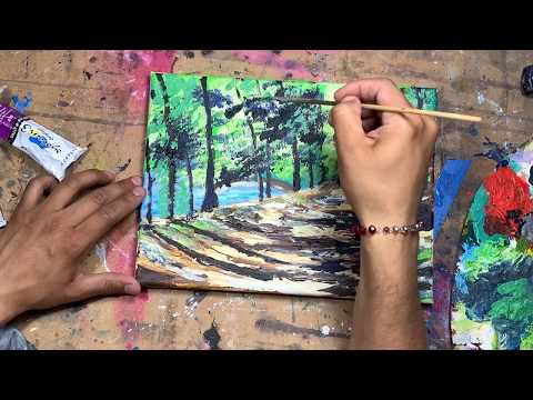 Easy landscape painting Demo acrylics