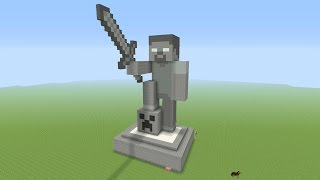Minecraft Tutorial: How To Make A STONE HEROBRINE Statue!!