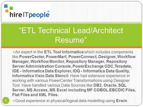ETL Technical Lead Architect Resume - YouTube