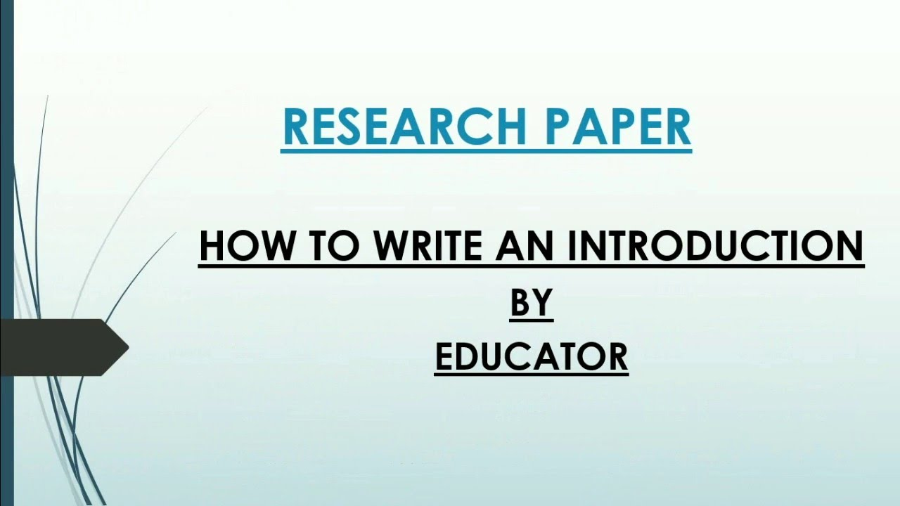Writing a research paper introduction