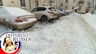 Winter Wonderland or Traffic Hell in Moscow. Snow vs Russian Drivers and Pedestrians
