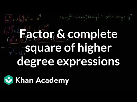 Factoring and completing square of higher degree expressions   Algebra II   Khan Academy
