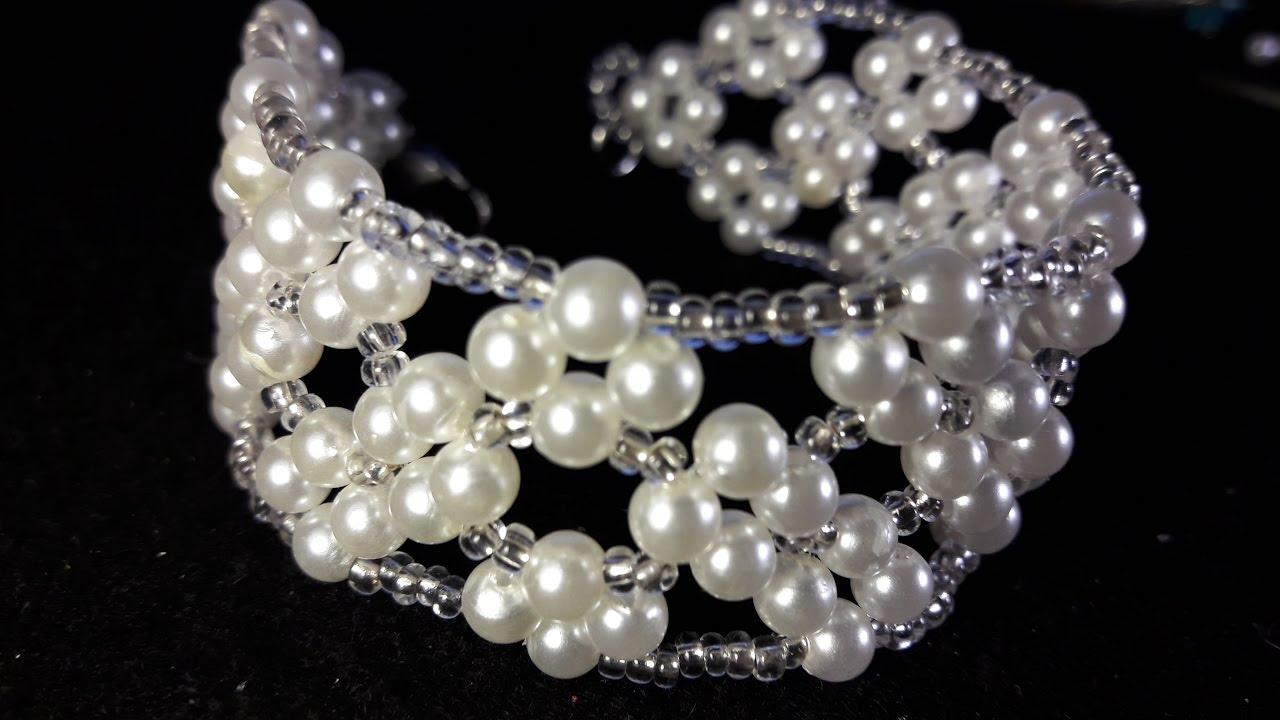 Hermosa Pulsera De Perlas Y Mostacillas Clase 25