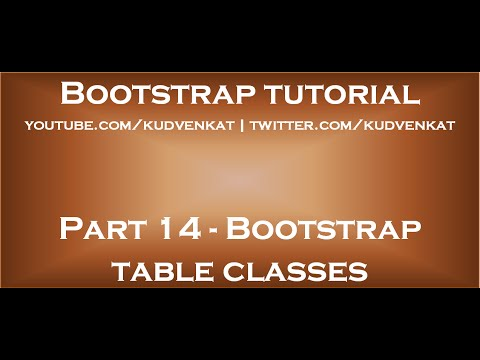 Bootstrap Table Classes Youtube