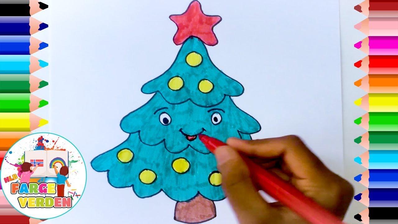 Hvordan tegne og fargelegge et juletre   Norske tegneskole   Norske barnesanger   Farge Verden