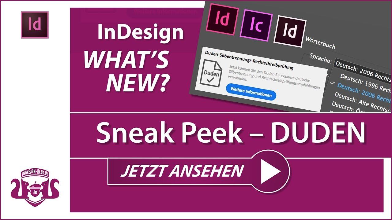 SNEAK PEEK - DUDEN – InDesign CC 2018 // WHAT\'S NEW - YouTube