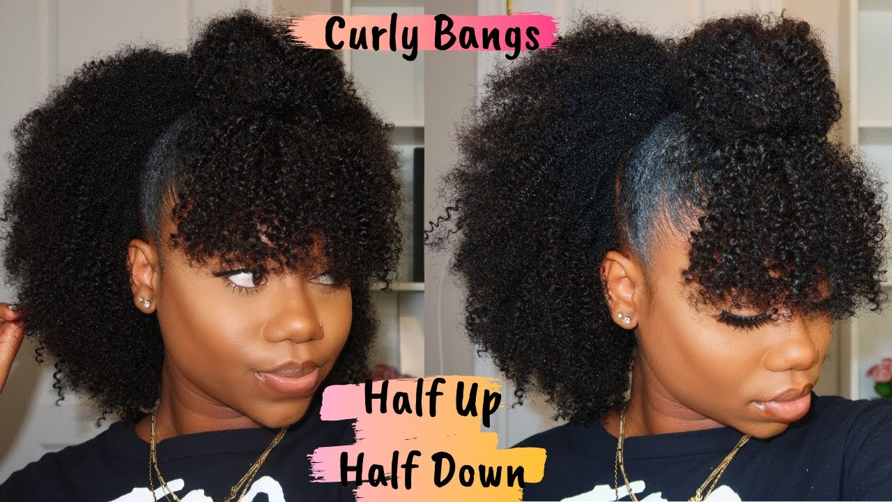 Natural Hairstyle Half Up Half Down With Curly Bangs Is