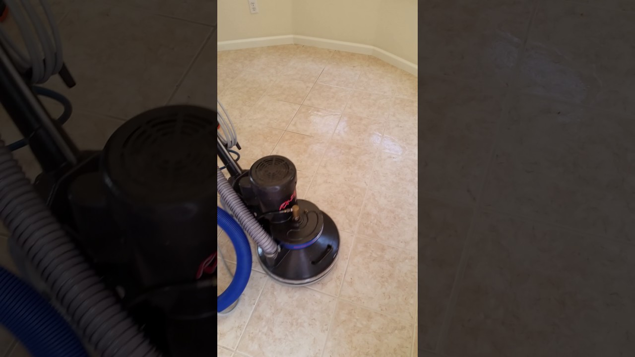 Ceramic Tile And Grout Cleaning Rotary Scrubber Youtube