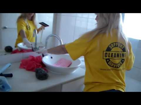 Training Video  Bathroom Cleaning, Toilet, Mirror, Vanity, and Door - Cleaning Support Services