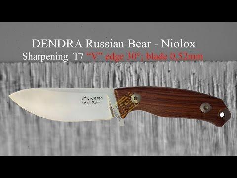 """Dendra Russian Bear - Niolox - Sharpening T7 """"V"""" edge 30° blade 0,66mm Rozsutec"""