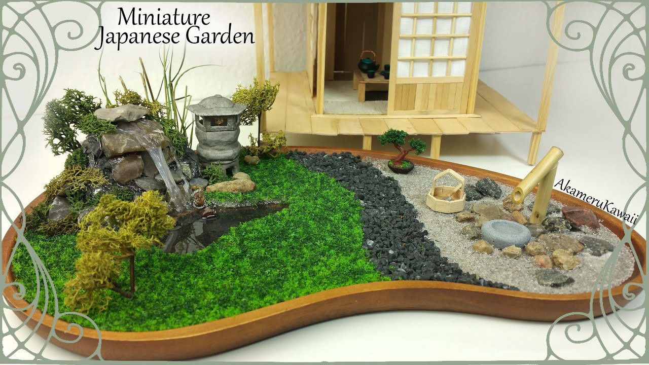 miniature japanese inspired garden w working lantern