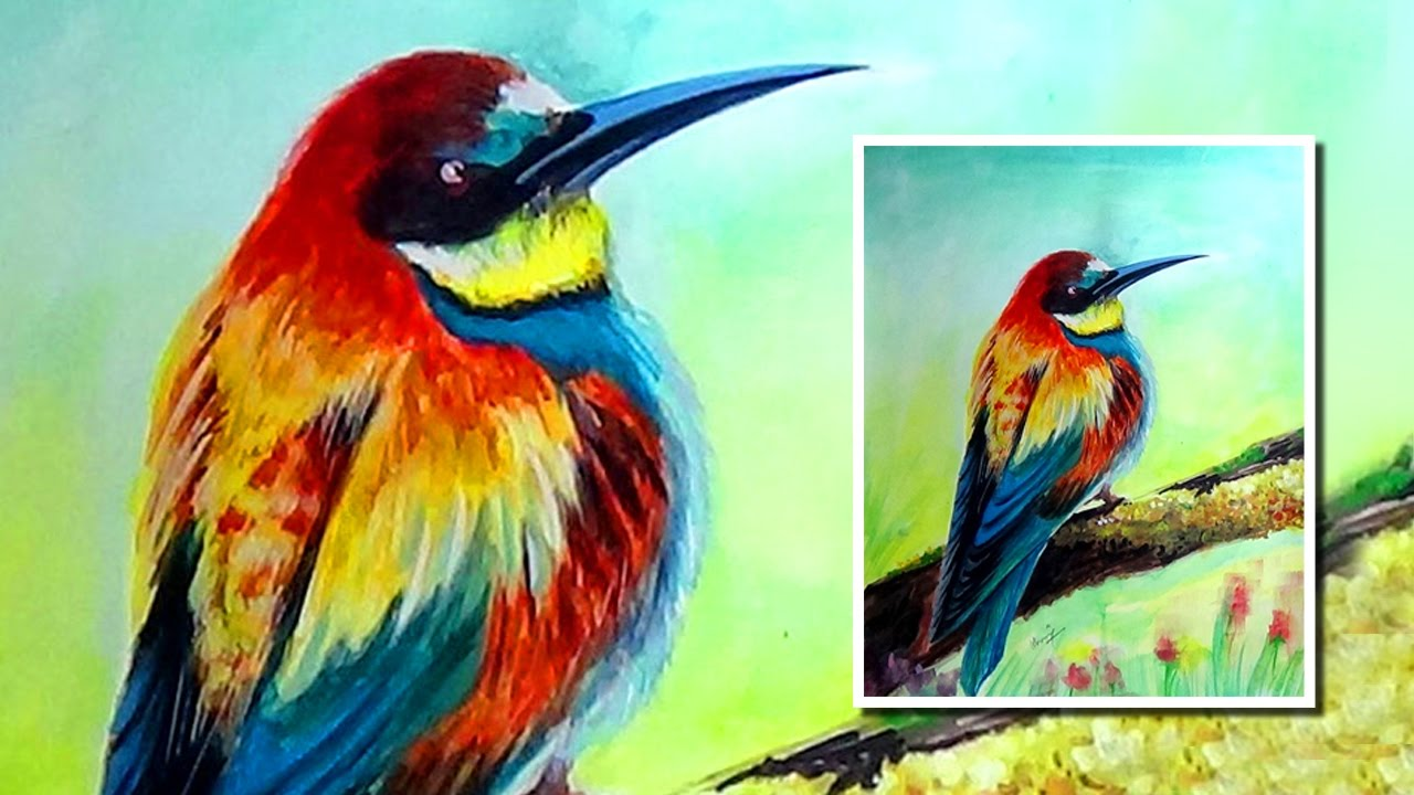 watercolor painting bird colorful bird painting how to paint