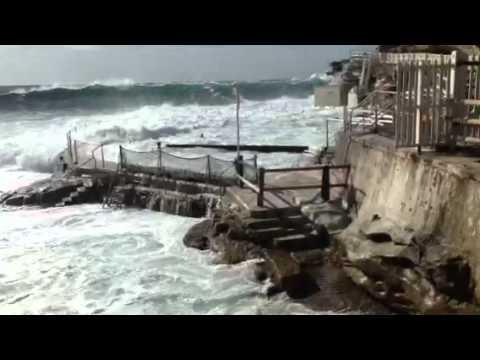 Bronte beach. Rock pool. Huge swell