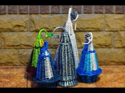 Christmas tree souvenir made of paper tubes