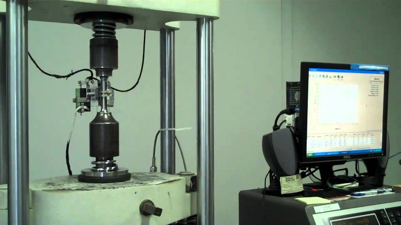 Tensile Testing A Stainless Steel Tensile Specimen Youtube