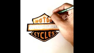 How to draw Harley Davidson logo easily